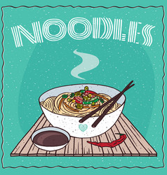 asian noodles ramen or udon with vegetables vector image
