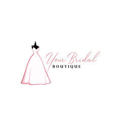 beautiful pink bridal gown boutique logo sign vector image