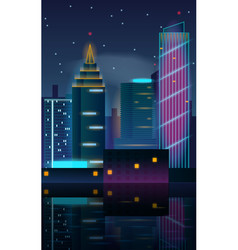 big city night landscape with skyscrapers vector image