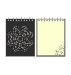 Black cover notebook with round ornate star vector