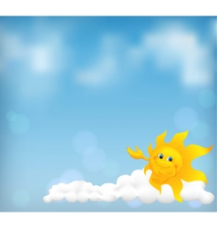 Blue sky background with fanny cartoon sun vector image