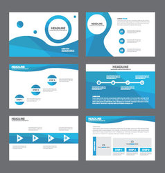 Blue wave presentation templates Infographic set vector