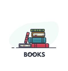 Book pile line art vector