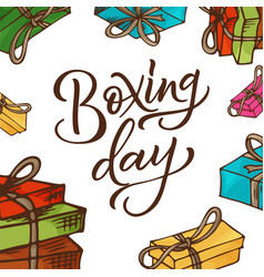 boxing day poster banner with hand drawn vector image