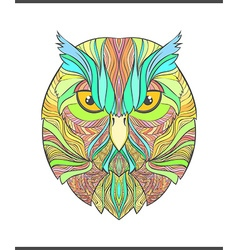 Bright colorful print with the sketch owl Modern vector