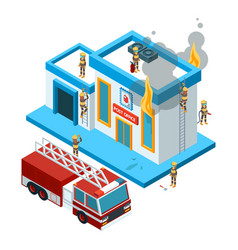 building in flame isometric firefighters at work vector image