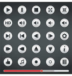 Buttons for Media Player vector