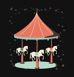 Carnival carrousel entertainment icon vector
