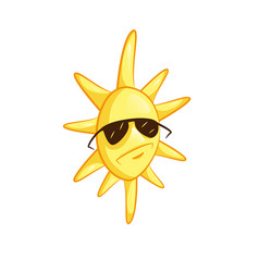 Cartoon sun in sunglasses cute vector
