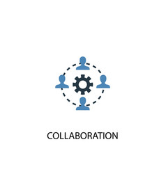 collaboration concept 2 colored icon simple blue vector image