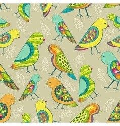 Colorful decorative birds seamless pattern vector image