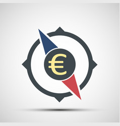 compass icon with euro currency sign vector image