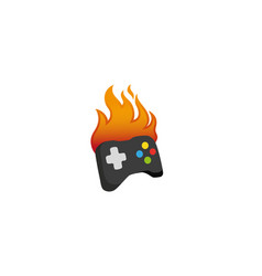 creative gamepad fire logo design vector image