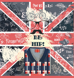 creative hipster design with hand sketched gb flag vector image