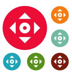Cursor displacement app icons circle set vector