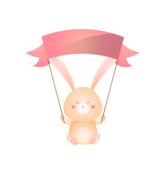 Cute sitting rabbit holds red flag over head vector
