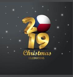 Czech republic flag 2019 merry christmas vector