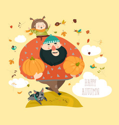 dad and his daughter with pumpkin vector image