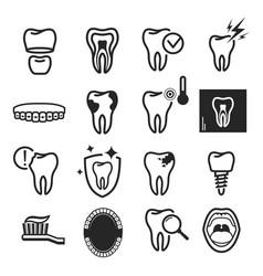 Dental care icon set on white background vector