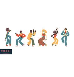 disco dancing people set vector image