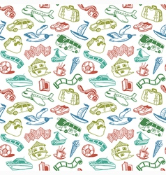 Doodle Travel Seamless Pattern vector image