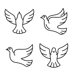 dove icons set outline style vector image