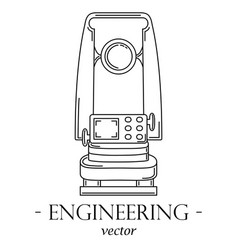 Engineering logo with a theodolite vector