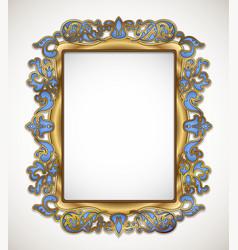 Floral gold frame vector