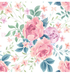 floral seamless pattern flower rose white vector image