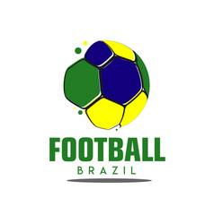 Football brazil logo template design vector