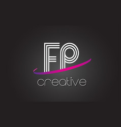 fp f p letter logo with lines design and purple vector image