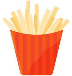 french fries in red striped paper box fastfood vector image