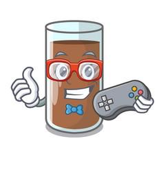 Gamer fresh chocolate splash on pouring mascot vector