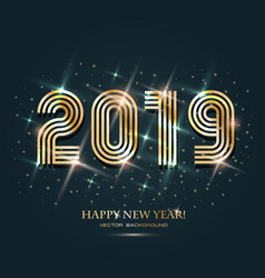 gold 2019 happy new year on the dark background vector image