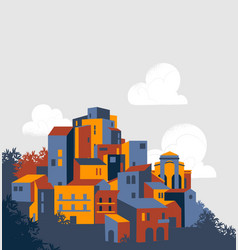 Gorgeous historical town on country hill vector