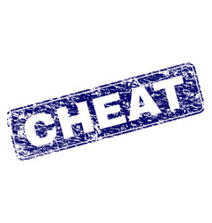 Grunge cheat framed rounded rectangle stamp vector