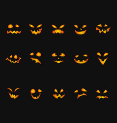 halloween pumpkin smileys icon background set vector image
