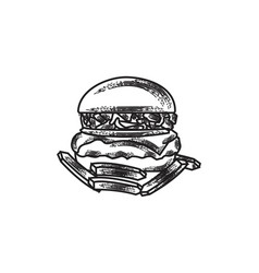 hand drawn burger and french fries fast food logo vector image