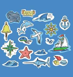 Hand-drawn stickers of marine theme vector