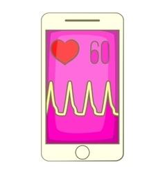 Health app on a smartphone icon cartoon style vector image