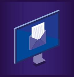Isometric computer desktop digital technology vector