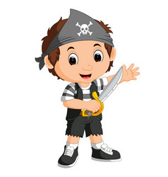Kid boy pirate cartoon vector