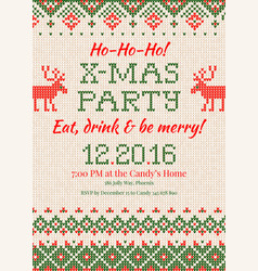 knitted invitation to christmas x-mas vector image
