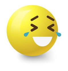laughing to tears smiley icon cartoon style vector image