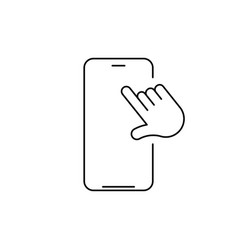 linear phone and technology icon with hand vector image