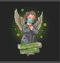 little angel wearing a mask at pandemic vector image