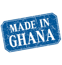 Made in ghana blue square grunge stamp vector