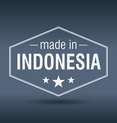 Made in Indonesia hexagonal white vintage label vector