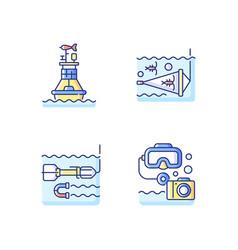 marine exploration rgb color icons set vector image