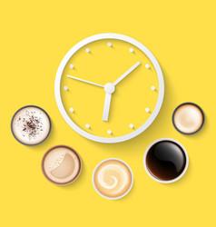morning coffee alarm clock top view energy drink vector image